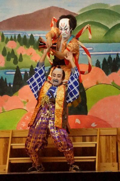 Locals performing kabuki in Mitane Town's Moritake Kabuki.