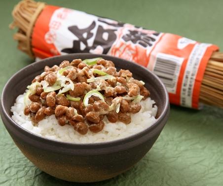 Hiyama natto on rice.