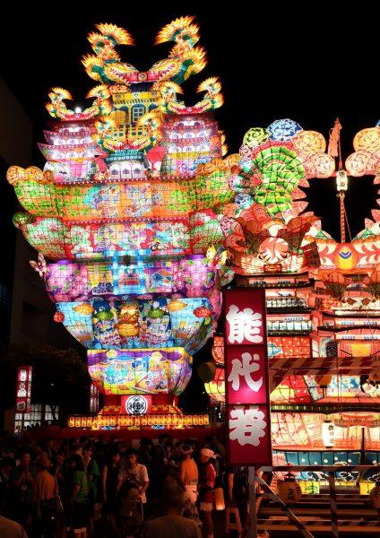 Floats stand tall at Tenku no Fuyajo Festival.