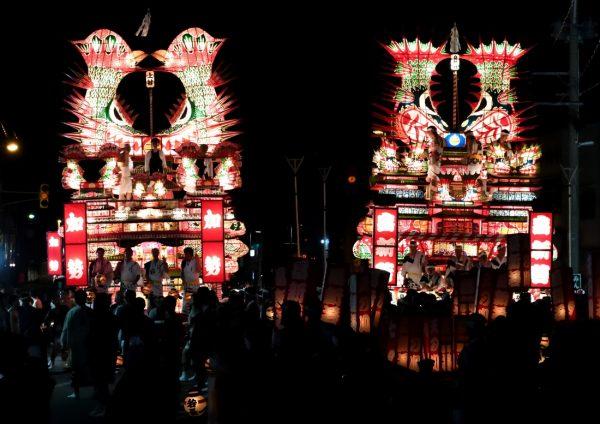 Noshiro Nebunagashi Festival floats.