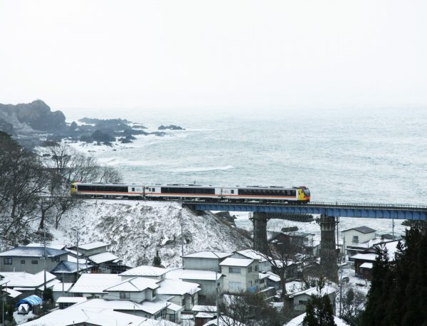 Resort Shirakami passing through Happo Town in winter.