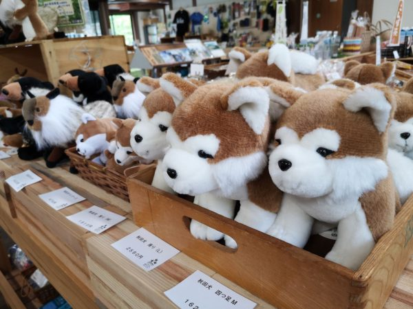 Akita dog stuffed animals at Mori no Eki.