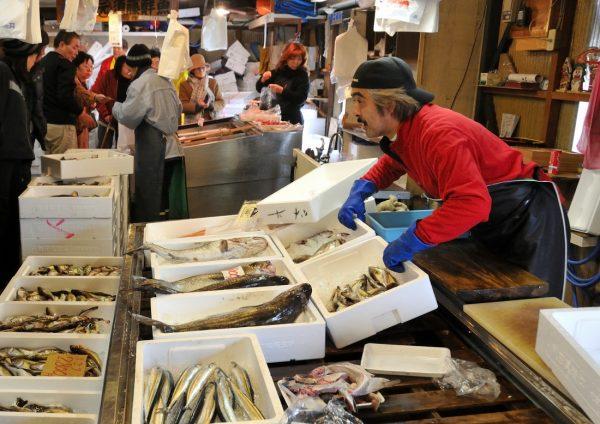 Hachimori fish market in Happo Town.