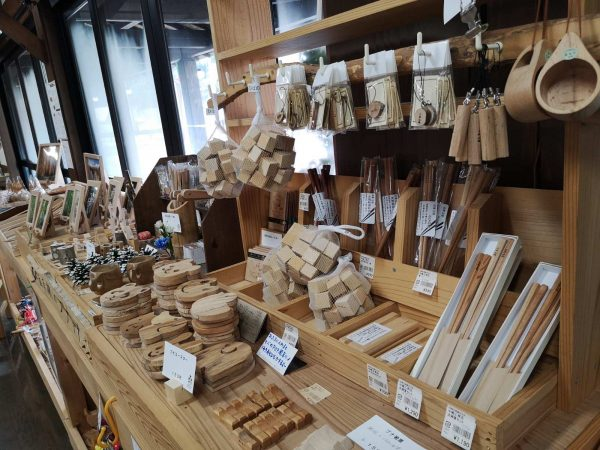Locally handcrafted goods at Mori no Eki.