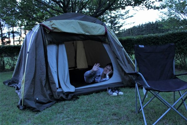 Tent in Goshonodai camping ground.