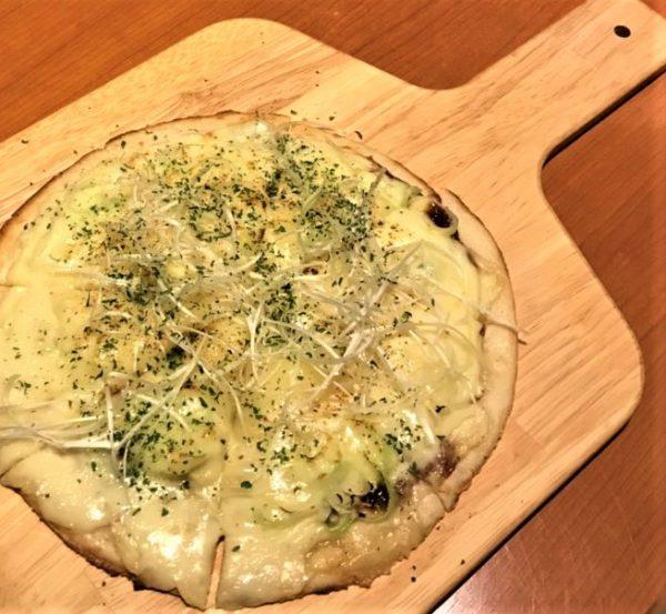 Miso and Shirakami green onion pizza.