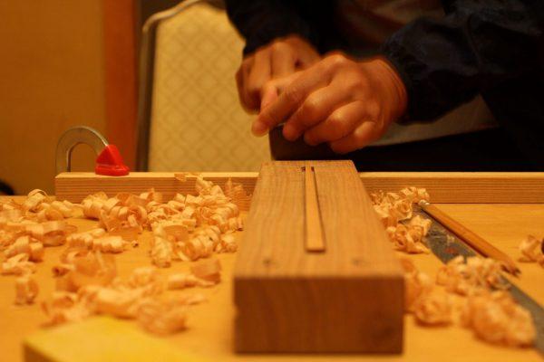 Using a kanna to make chopsticks.