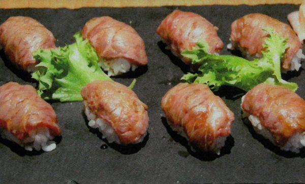 Local Noshiro beef made into sushi.