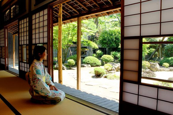 Looking out onto Kaneyu's garden.