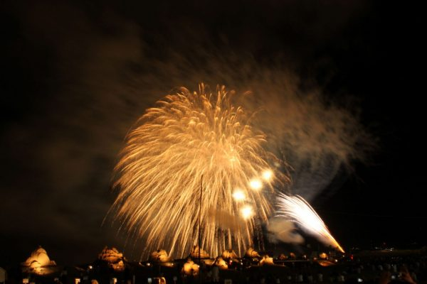 Fireworks finale at Sandcraft Festival in Mitane Town.