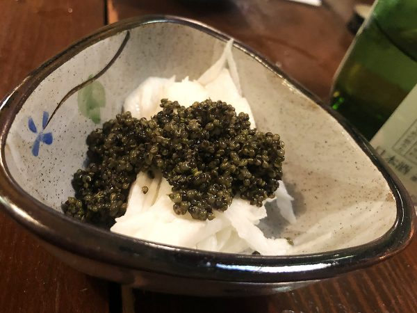"Tonburi, a local delicacy nicknamed ""vegetable caviar."""